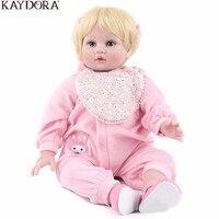 KAYDORA Reborn Doll Baby 22 inch 55 CM Vinyl Body Doll Toys For Girl Boy Soft Silicone Birthday Gift Lifelike Pink Princess