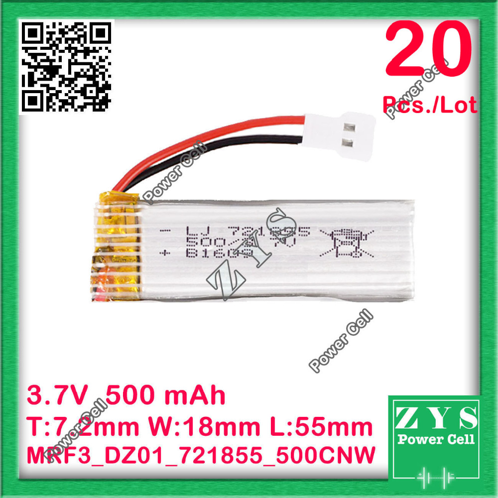 20 pcs./Lot Safety Packing, 3.7V lithium Polymer <font><b>battery</b></font> <font><b>721855</b></font> 500mah for UAV UAS Drone Zone mini drone fpv Size7.2x18x55mm image