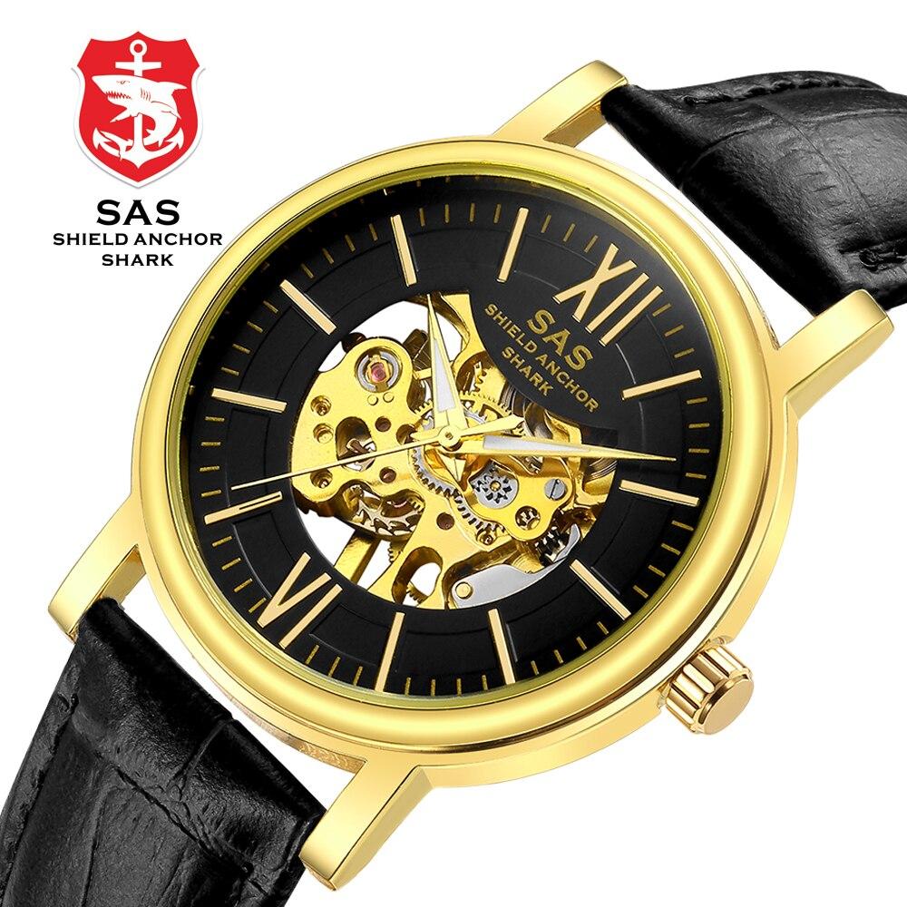 SAS bouclier ancre requin Sport montre hommes Vintage noir boîtier en cuir bande creux mécanique montres cadeau pour hommes Relojes Masculino