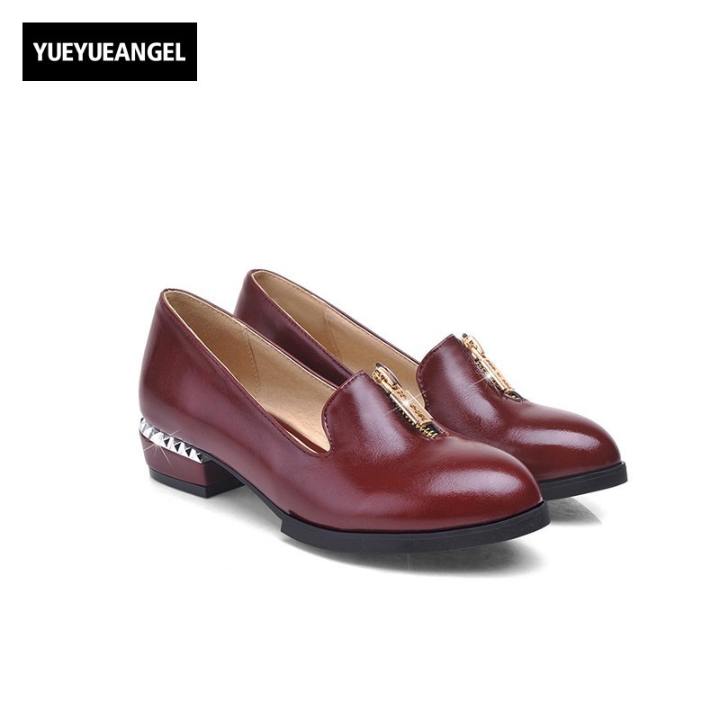 Fashion Stweetwear Vogue Pointed Toe Pumps Pu Leather Metal Decoration Chic Dress Shoes For Women Block Chunky Heel Footwear Red pu pointed toe flats with eyelet strap