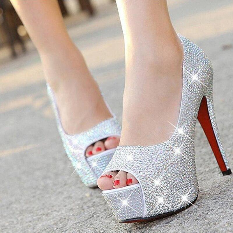 Womens wedding shoes Peep Toe High heels Bride shoes woman 11cm 14cm heel Fish toe Pumps