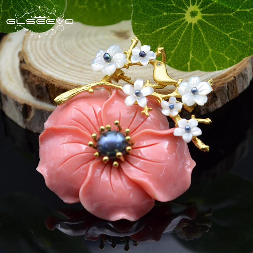 GLSEEVO Luxury Coral Flower Natural Fresh Water Pearl Brooches For Women Party Wedding Gift Pendant Dual Use Fine Jewelry GO0038
