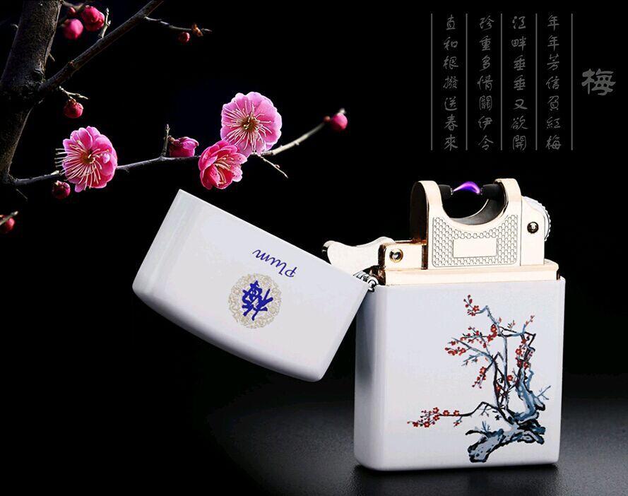 Populaire Chinois National Vent USB De Charge allume pulse arc électronique couleur impression cigarette lighter-JL206