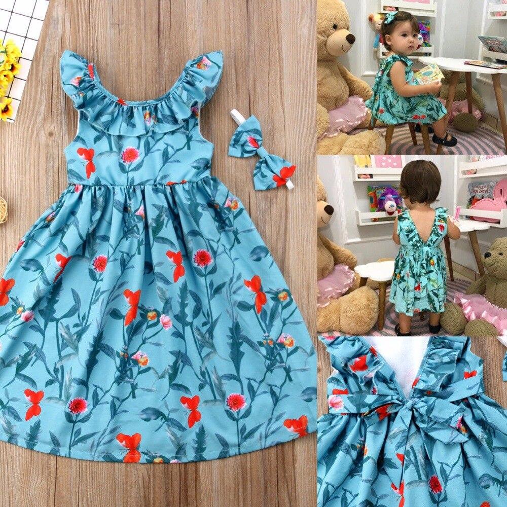 Vogue Kids Girls Clothes Bez rękawów Ruched Bow Blue Dress Floral - Ubrania dziecięce - Zdjęcie 4