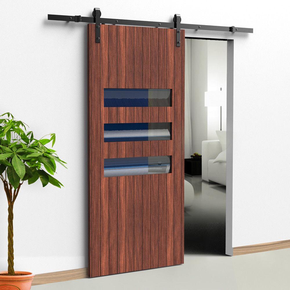 6.6FT Black Modern Steel Rustic Wood Sliding Barn Door Track Hardware  Set In Doors From Home Improvement On Aliexpress.com | Alibaba Group
