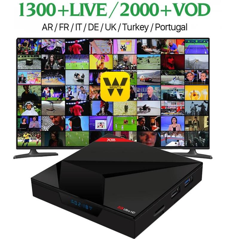 X88 Voice Control IPTV Receiver Android France Arabic IPTV Box Rk3228 Quad-Core WIFI Smart TV box QHDTV Arabic France IPTV box