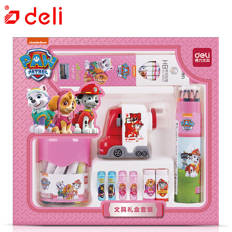 Deli Stationery Set Cute Dog Pattern Student Learning Kit Pencil/Pencil Sharpener/Notebook/Color Pencil Stationery Children Gift deli cute stationery thomas mechanical pencil sharpener train friends give child a learning gift good quality school stationery
