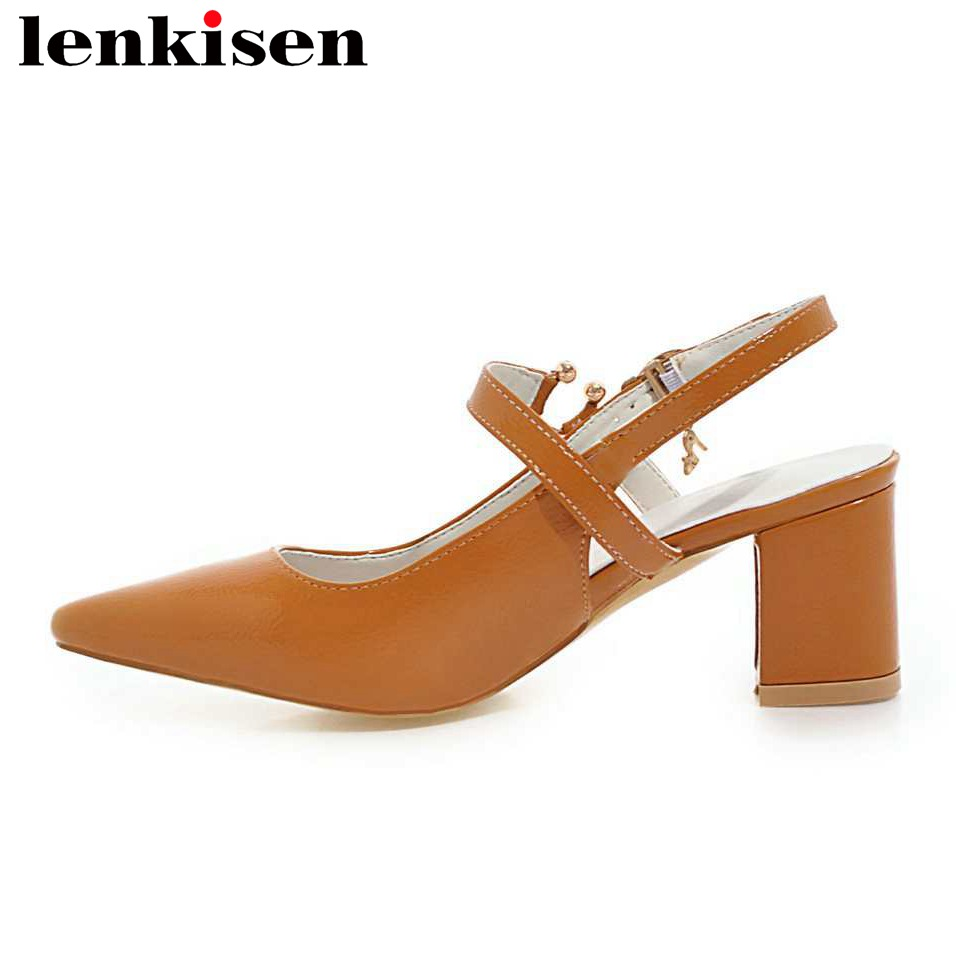 Lenkisen 2018 office career buckle strap solid pointed toe big size pu med thick heels sandals slingback women casual shoes L08