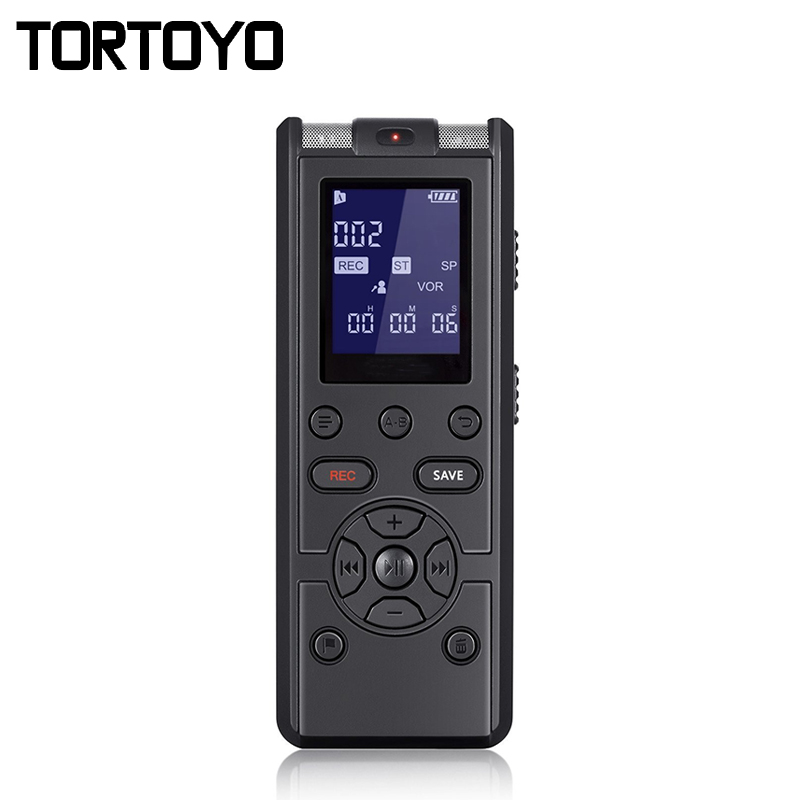 TORTOYO High Quality Professional Digital Voice Recorder Smart Sound Control Noise Reduction HD HIFI Loseless Music MP3 Player ...