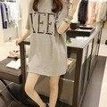 Descuento de la mujer T-shirt de color sólido camiseta del verano estilos t alfabeto aliviar largo moda de manga corta t-shirt