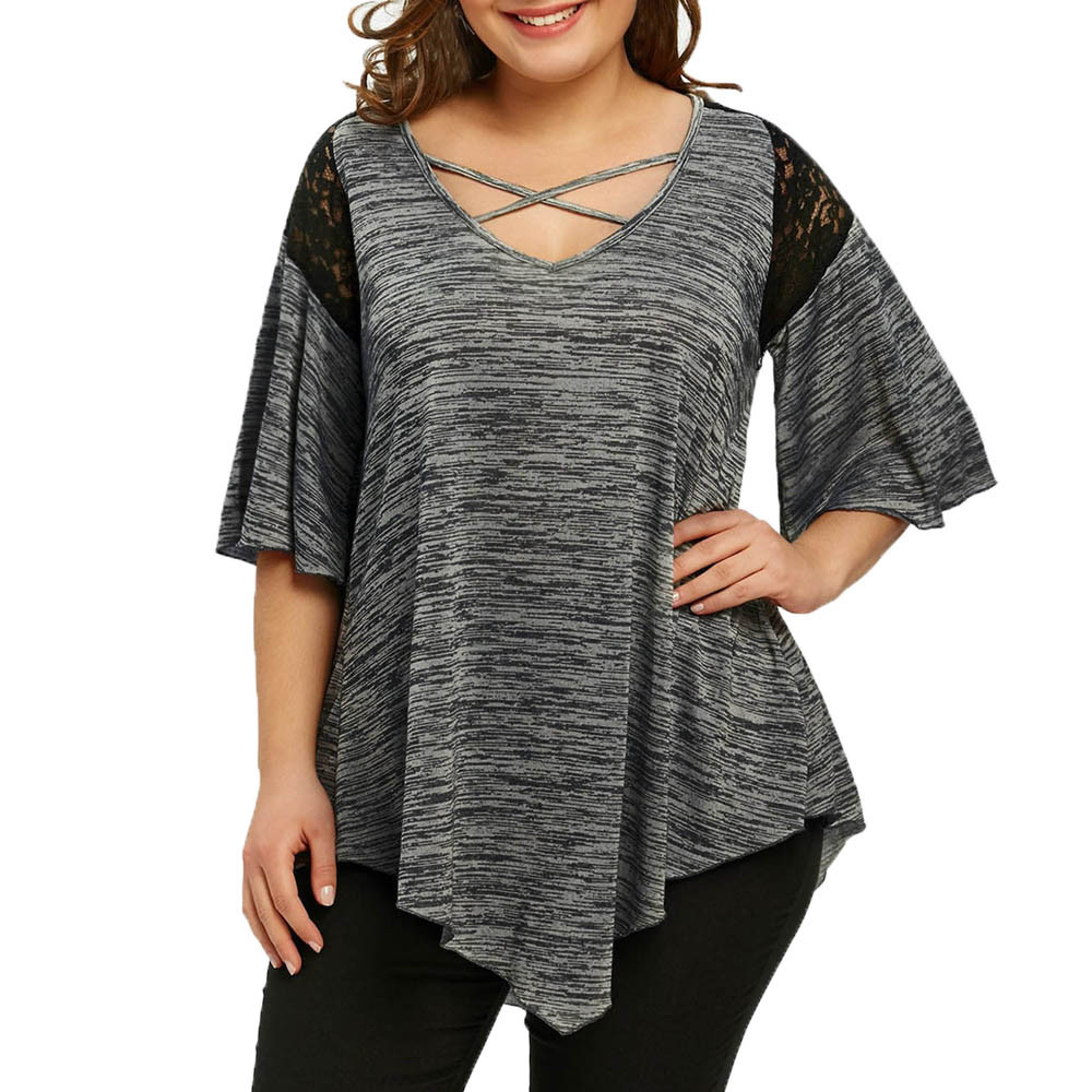 Big Size Flare Sleeve Tunic Asymmetrical Blouse Shirt Women Patchwork V-Neck Half Sleeve Lace Panel Womens Plus Size Блузка