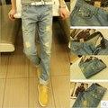 Высокое качество мода hole джинсы для мужчин мода лето стиль casual тонкий корейский стиль мужчины брюки Бесплатная Доставка MF7589321