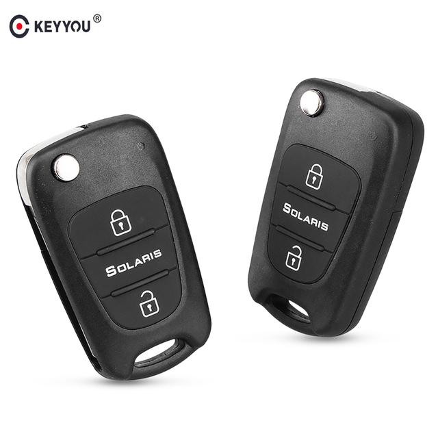 KEYYOU 3 Button Replacement Car Flip Folding Key Shell Blank Remote Fob Shell For Hyundai Solaris