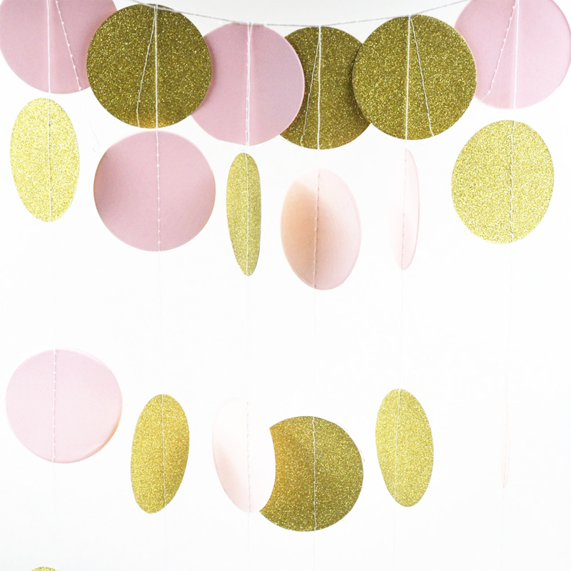 Room Party Decoration Toys 24 Pieces 2M Glitter Circle Polka Pink White Gold Dots Paper Birthday Party Garland Toys For Children