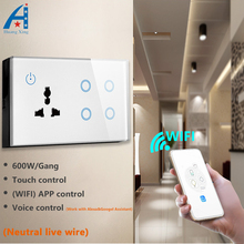 HUANGXING, NEW ARRIVAL UK 146 Type WIFI smart wall Socket with 4 Gang 600W/Gang light Switch 10A,compatible Google assistant