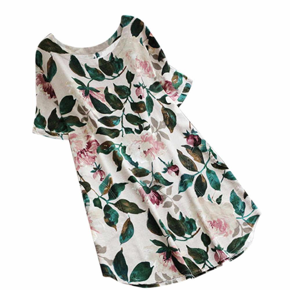 Vestido de verão Mulheres Senhora Floral Impressão praia vestido de Festa 2019 senhoras Vestido de Verão camisa de Manga Curta robe Plus Size vestidos 4 cores