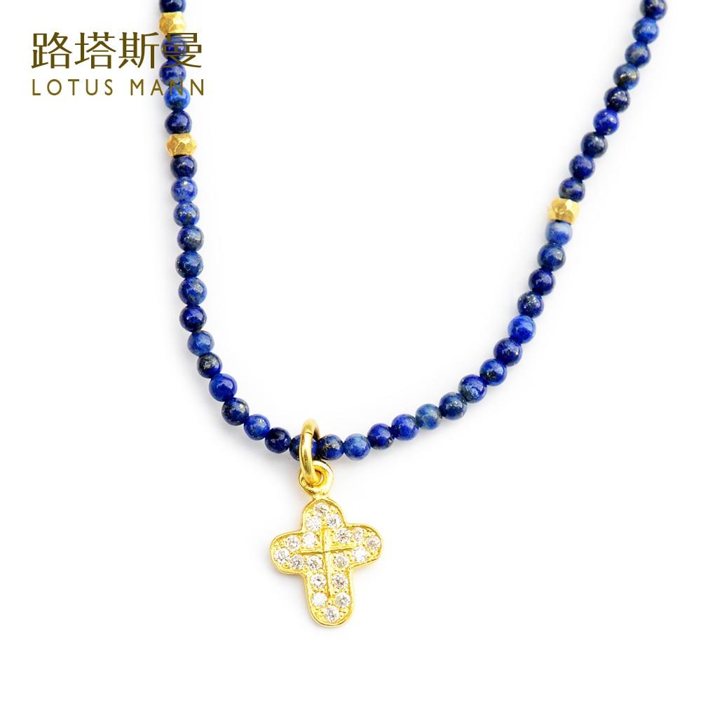 Lotus Mann Mini collier pendentif croix plaqué argent lapis lazuli naturel Europe et états-unis cadeaux de vacances