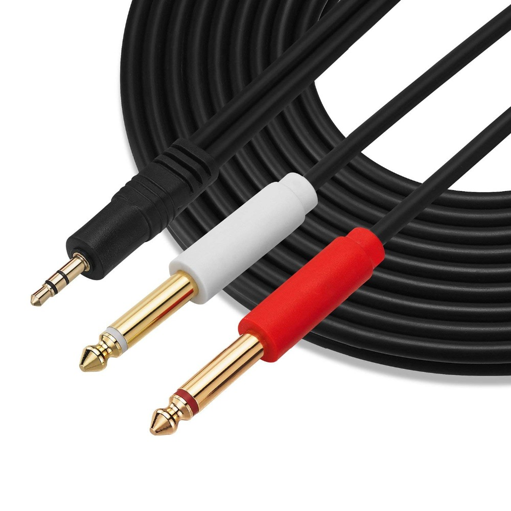"5FT 3.5mm 1//8/"" TRS Male to 2 x 1//4/"" inch TS Mono Male Audio Cable iPod iPhone"