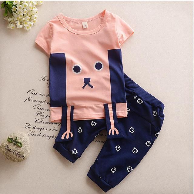 Crianças verão 2017 novos meninos e meninas Coreanas em crianças moda bonito pequenos animais terno maré