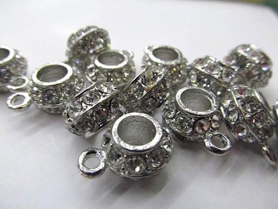 50 pcs 8x12mm strass connecteur rondelle baril cristal, métal et tchèque strass entretoise perles