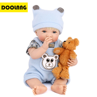 DOOLNNG Soft Body Silicone Reborn Baby Doll Lifelike Newborn Toy Acrylic Eyes Practice Bathe Wear Clothes