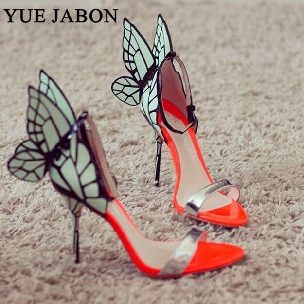 Orange Real Leather Women Open Toe Sandals Mixed Color Butterfly Wing Back Ladies Sexy High Heels
