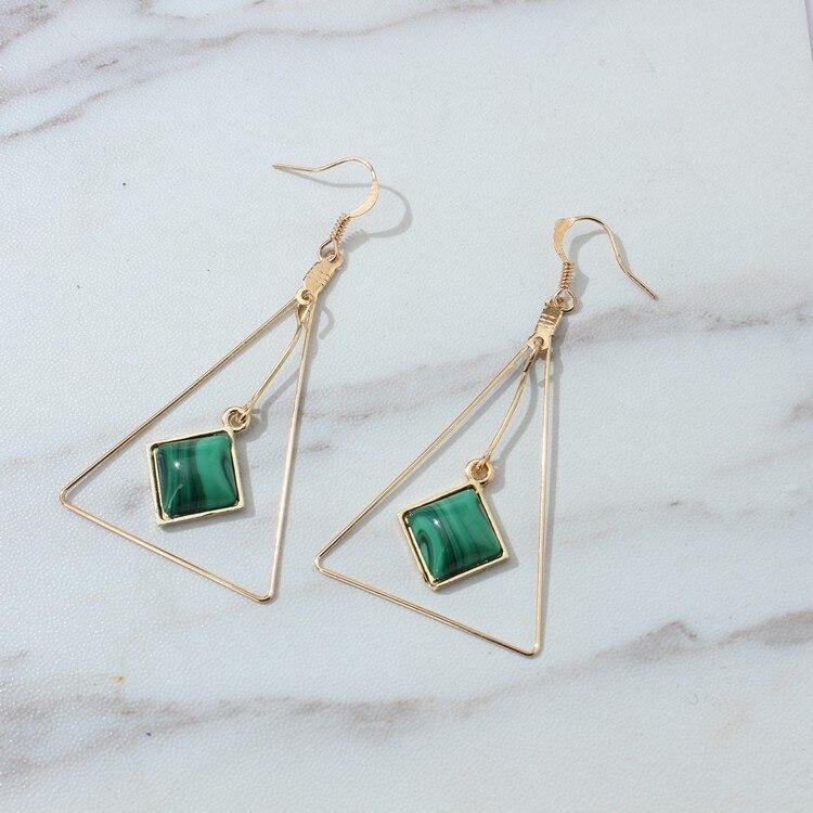 New Fashion Jewelry Simple Beautiful Earrings Triangle Blue Opal Earrings Hanging Gift For Women Girl Pendientes De Perlas