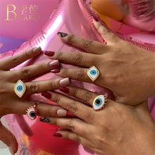 BOAKO Evil Eye Rings For Women Gold Turkey Ring Girl Party Jewelry Statement Adjustable Trendy anillos Z5