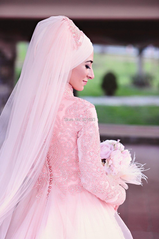 OumeiyaW0251 high neck full long sleeve heavy crystal beads muslim vestido de noiva 2016 font b