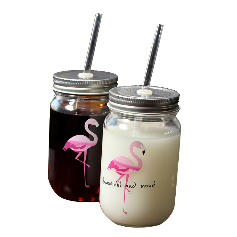 450ml Hot Flamingo Straw Glass Mason Jar Creative Drinking Cup with Lid and Straw Eco-Friendly Fruit Salad Bottle breakfast Jars ...