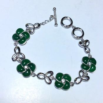 Retro Thai Silver S925 Sterling Silver Inlaid Natural Chrysoprase Clover Bracelet Word Buckle Women Bracelet
