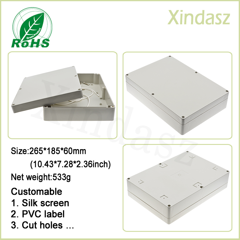 265*185*60mm plastic project case waterproof enclosure distribution box enclosures for electronics plastic electronic enclosure waterproof 4 pcs 95 65 55mm enclosure for electronics plastic case ip68 plastic project box pcb enclosure