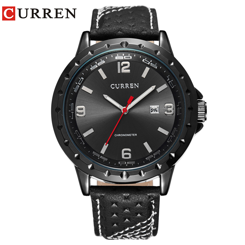 Fashion Curren 8120 Men's Round Dial Analog Watch with Date Display Leather Strap Watches Hour Quartz Dress Wristwatches