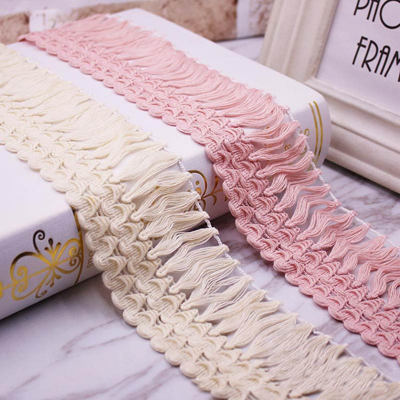 1yards/lot Lace Tassel Ribbon Cotton Tassels Trimming Fringes For Sewing Bed Sheet Clothes Curtains DIY Accessories Decoration