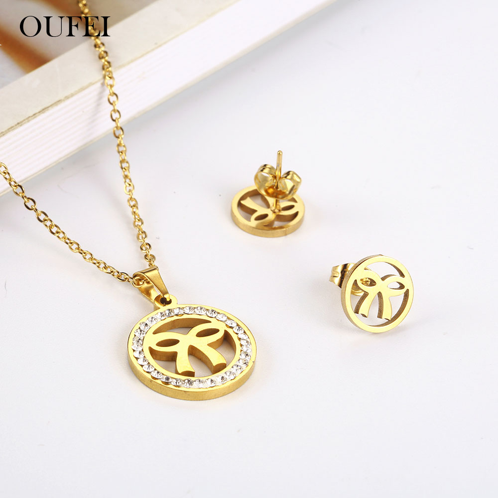 OUFEI Stainless Steel Jewelry Woman Vogue 2019 Womens Jewelry Necklace Earrings Set jewellery Accessories Gifts For Women