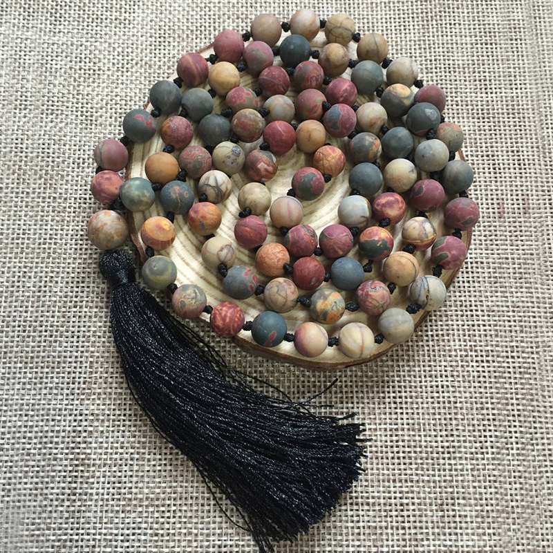 8mm Matte Picasso J asper Mala Long Necklaces Knotted Natural Stone Meditation Necklace 108 Mala Beads