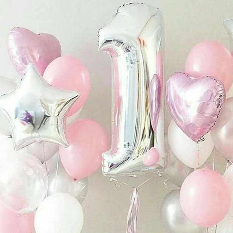 Conjunto Festa de Aniversário Balão Dígitos 1 1 Balão de Hélio Foil Balões Menino Menina Minha 1 Anos de idade Do Bebê Chuveiro Partido decorações Suprimentos