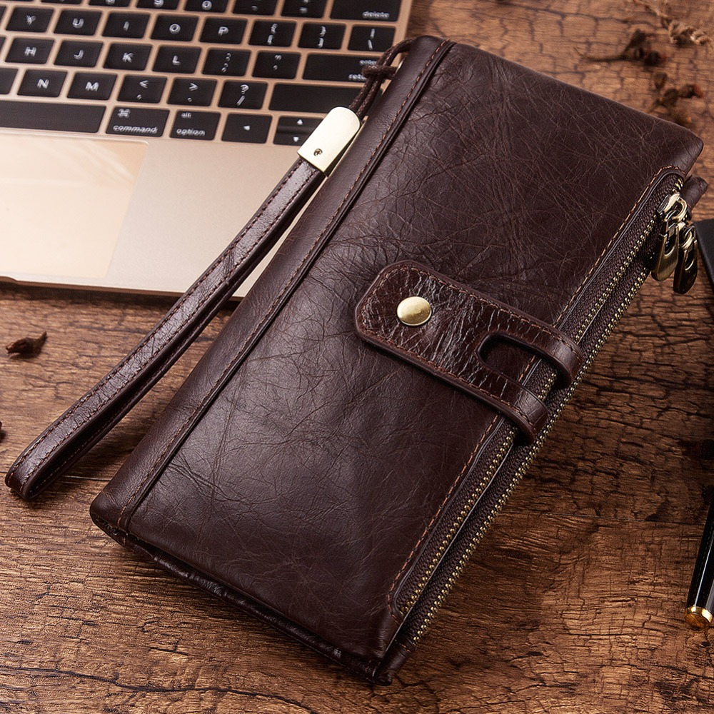 KAVIS New Genuine Leather Men Wallet Male Cell Phone Clutch Coin Purse Walet Portomonee PORTFOLIO Clamp For Money Bag Handy Long