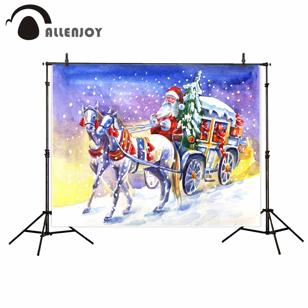Allenjoy photographic background Christmas painting santa claus winter horse backdrop photocall photo prop computer printing