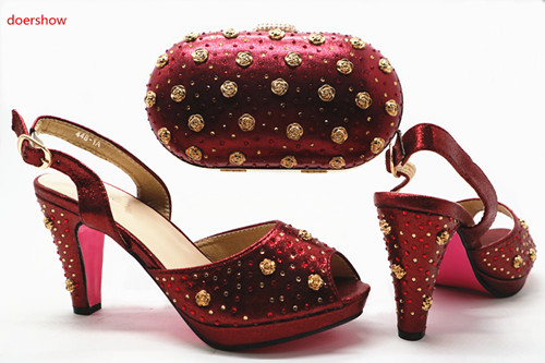 doershow Italian Shoes with Matching Bags Italian Design deep red African Nigeria Shoes and Bag Set for Parties for Women HX1-22 doershow italian shoes with matching bags nigeria wedding shoes and bag to match stones african shoe and bag set for lady kh1 14