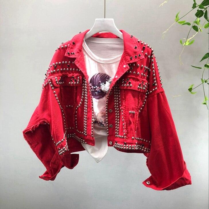 Spring Autumn Women's Harajuku Red Denim Jacket Coat Hand Beaded Rivet Short Black Jean Jackets Students Basic Coats Outfit