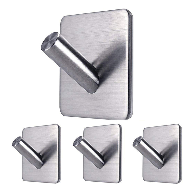 4pcs Self Adhesive Stainless Steel Hook Waterproof And No Drill Glue Hanger For Bathroom Mirror