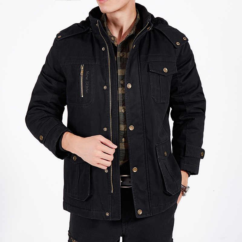 AFS ジープ冬のジャケットの男性パーカー厚手暖かいフリースパーカー軍事ジャケットコート男性ウールライナーフード付き襟プラスサイズ M-6XL