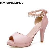 Karinluna Új női bokavédő tüske High Heels String gyöngy cipő Női cipő nyári szandál Big Size 33-43