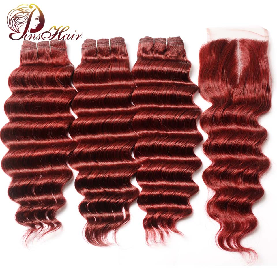 Pinshair Bold Red Brazilian Hair Loose Deep Wave Bundle With Closure 99J Burgundy Human Hair 3 Bundles Lace Closure No Remy Hair