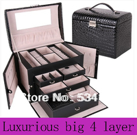 Free Shipping Luxury Leather Jewelry Box Necklace Pendant Display Casket Shelf Packing Gift Box Beauty Case