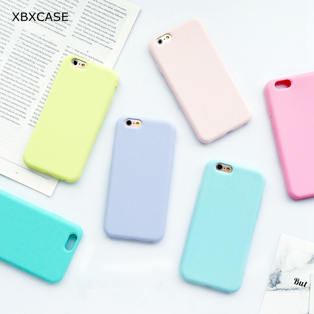 XBXCase Macarons Color TPU Silicone Case voor iPhone 11 Pro Max 6 6S 7 8 Plus 5 5S SE Soft Back Cover voor iPhone X Xs Max XR XS
