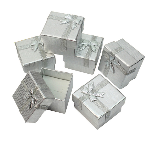 Us 36 94 5 Off Jewelry Gift Box 4 4 3cm Ring Boxes Square Carton Silver Small Earrings Pendant Organizer Display Packaging Wholesale 120pcs Lot In