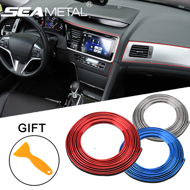 5 m auto interieur mouldings versieringen decoratie lijn strips auto styling deur dashboard luchtuitlaat decoratieve