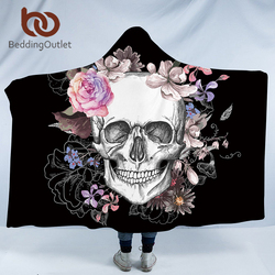 BeddingOutlet Sugar Skull Flower Hooded Blanket for Adults Floral Gothic Sherpa Fleece Wearable Throw Blanket Microfiber Black
